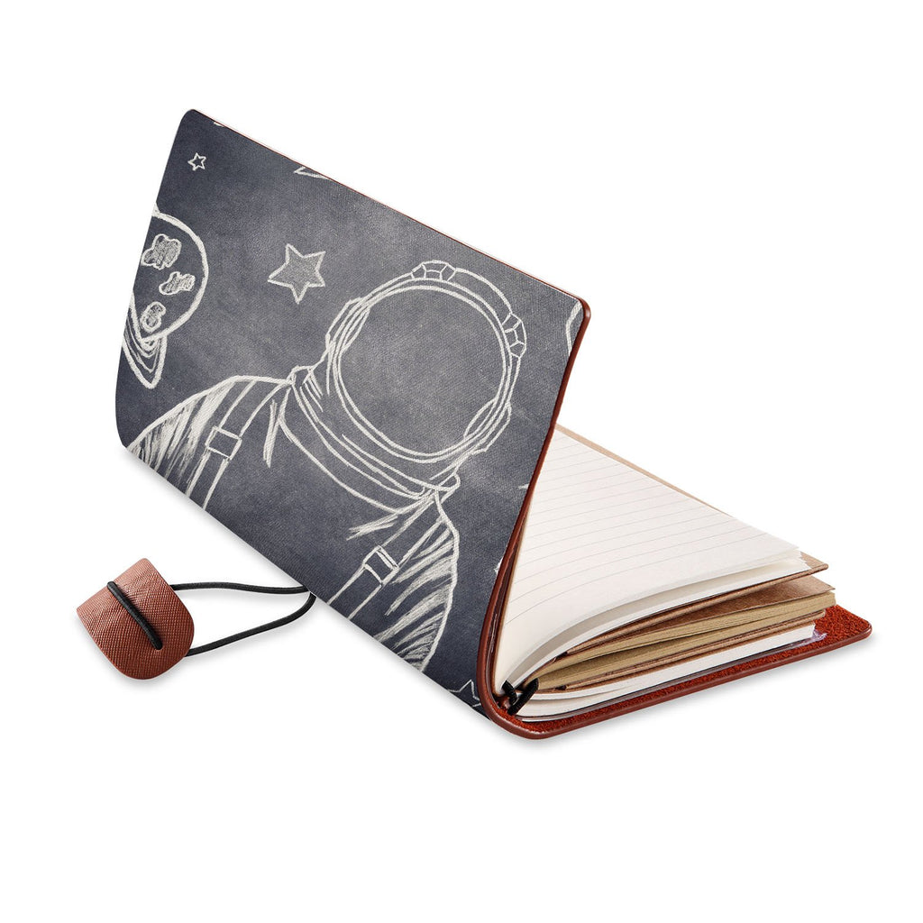 opened view of midori style traveler's notebook with Astronaut Space design