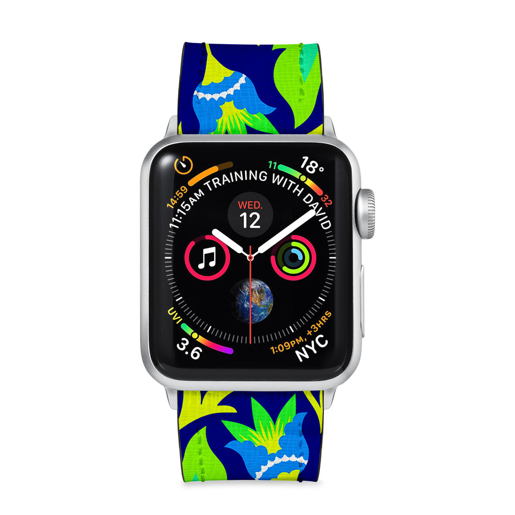 Our Printed Leather Apple Watch Band with Botanic design are made of water- and scratch-resistant saffiano leather because we know you wear your apple watch every, single, day. - swap
