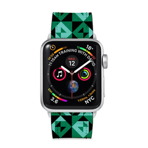 Our Printed Leather Apple Watch Band with Quilt Patterns design are made of water- and scratch-resistant saffiano leather because we know you wear your apple watch every, single, day. - swap