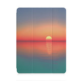 front view of personalized iPad case with pencil holder and Sunset Clouds design