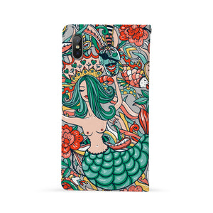 Back Side of Personalized iPhone Wallet Case with Mermaid design - swap