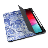 personalized iPad case with pencil holder and China Blue design