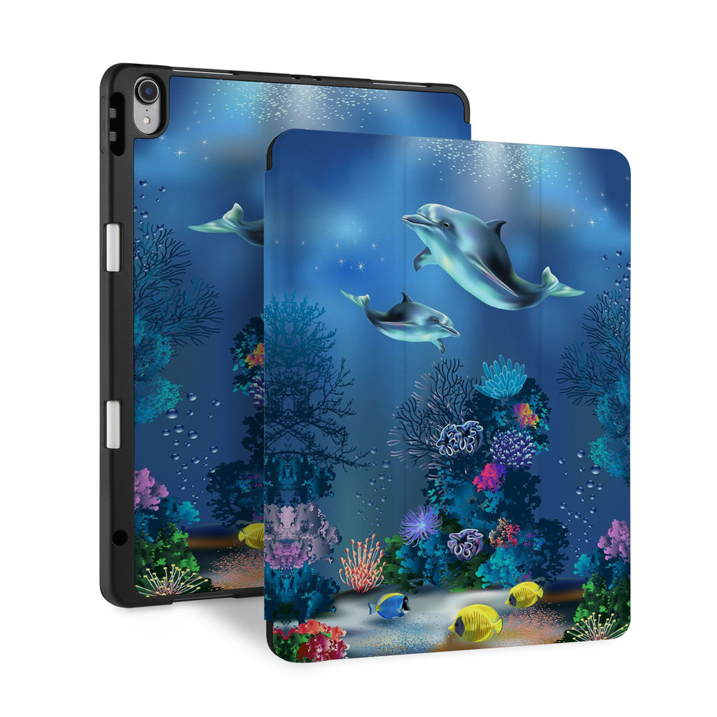 front and back view of personalized iPad case with pencil holder and Dolphin design