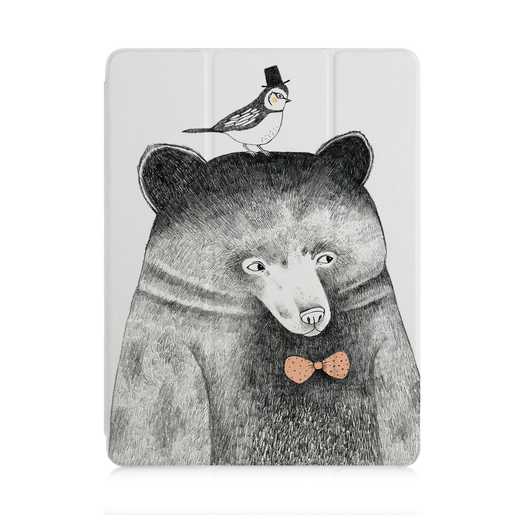 front view of personalized iPad case with pencil holder and Bear design