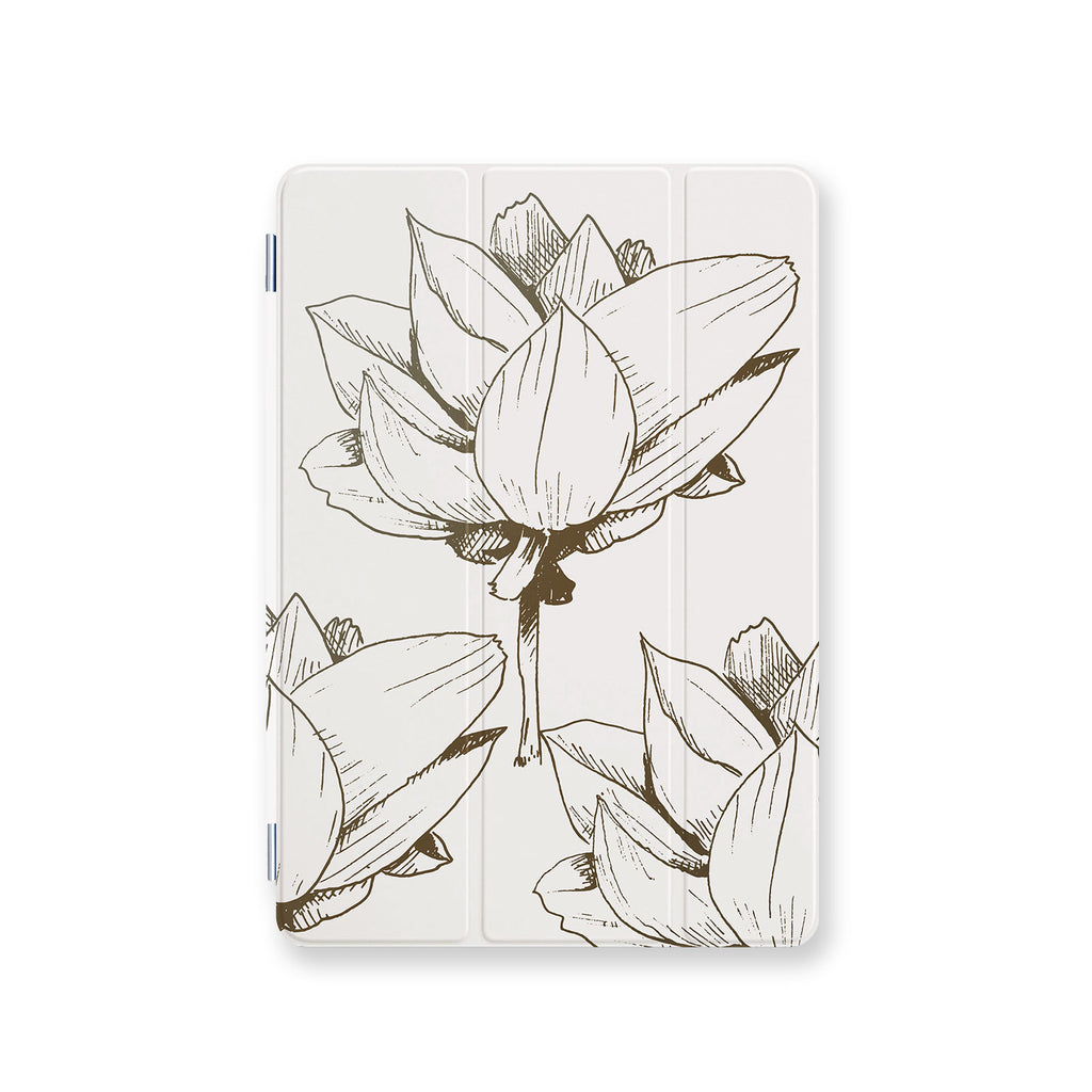 front view personalized iPad case smart cover with Bloom Flourish design