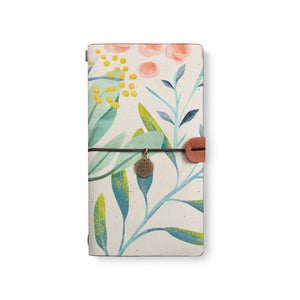 the front top view of midori style traveler's notebook with Pink Flower design