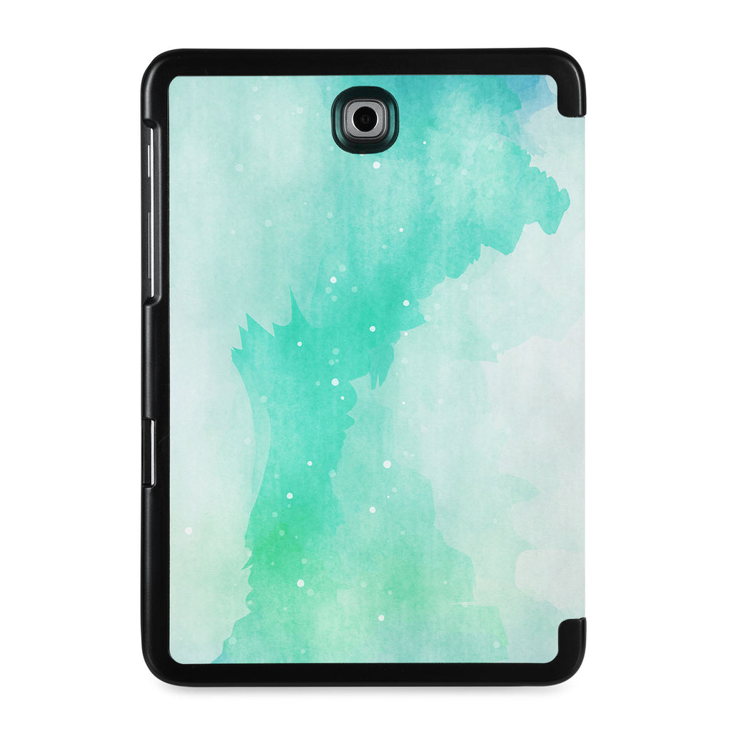 the back view of Personalized Samsung Galaxy Tab Case with Abstract Watercolor Splash design