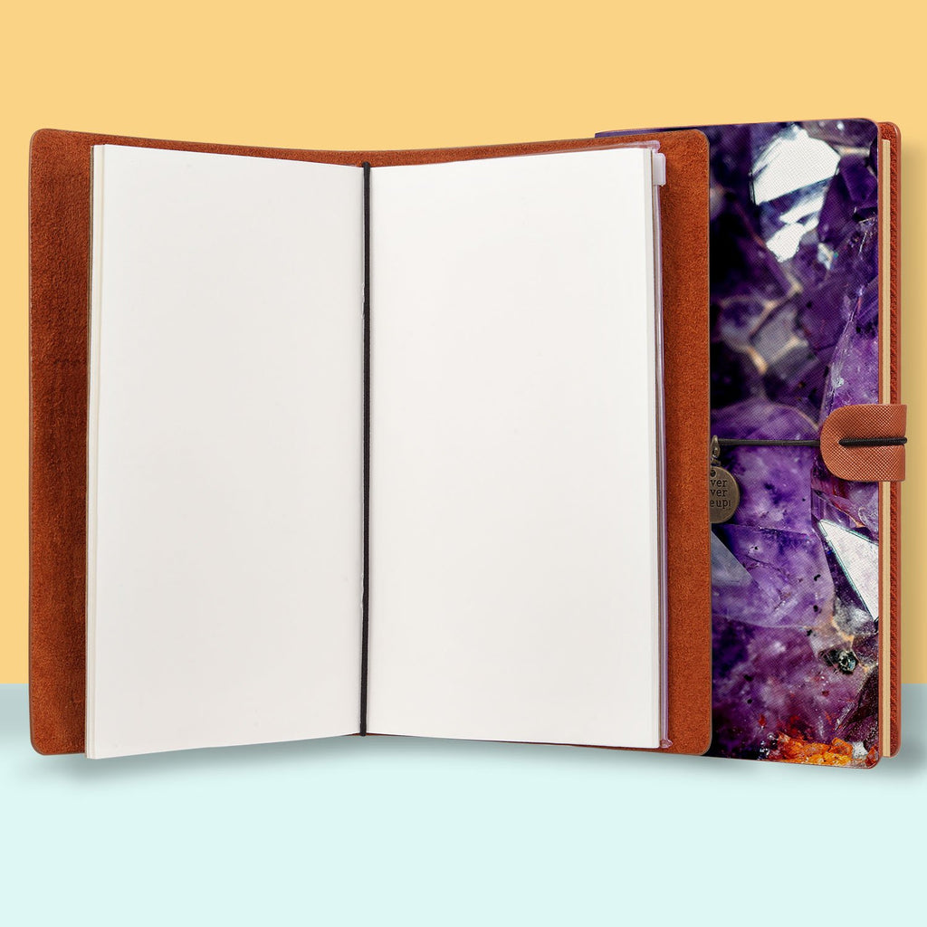 the front top view of midori style traveler's notebook with Crystal Diamond design