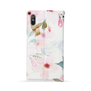 Back Side of Personalized Huawei Wallet Case with Flamingos design - swap