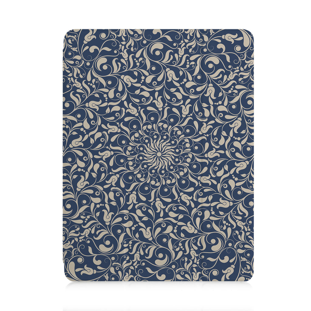 front view of personalized iPad case with pencil holder and Zen design