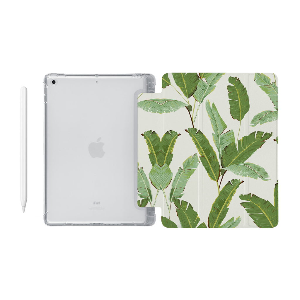 iPad SeeThru Casd with Green Leaves Design Fully compatible with the Apple Pencil