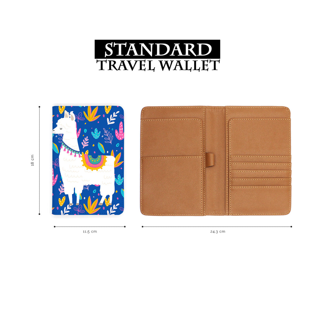 standard size of personalized RFID blocking passport travel wallet with Llamas design