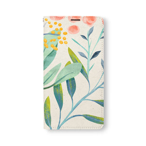 Front Side of Personalized Samsung Galaxy Wallet Case with Leaves design