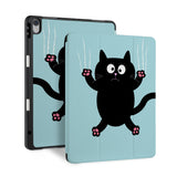 front back and stand view of personalized iPad case with pencil holder and Cat Kitty design - swap