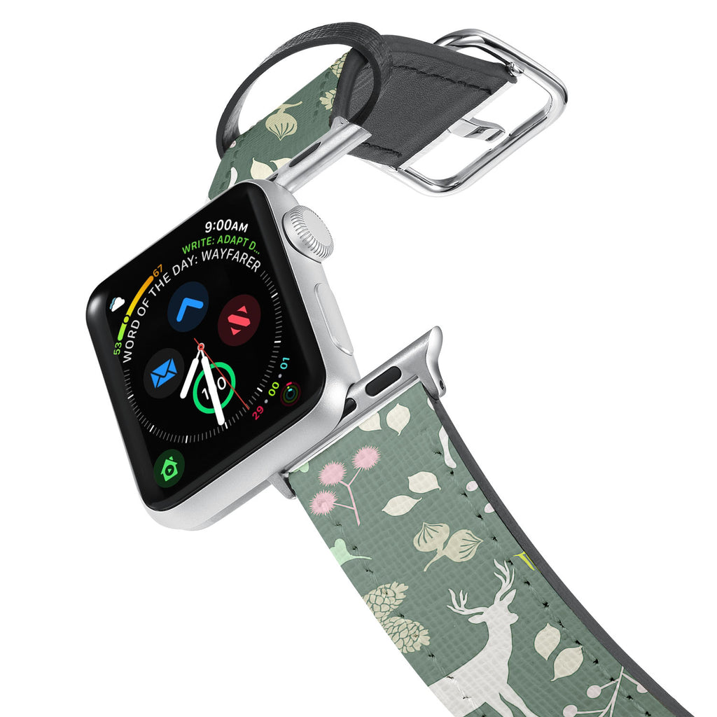 Printed Leather Apple Watch Band with Back To Nature design. Designed for Apple Watch Series 4,Works with all previous versions of Apple Watch.