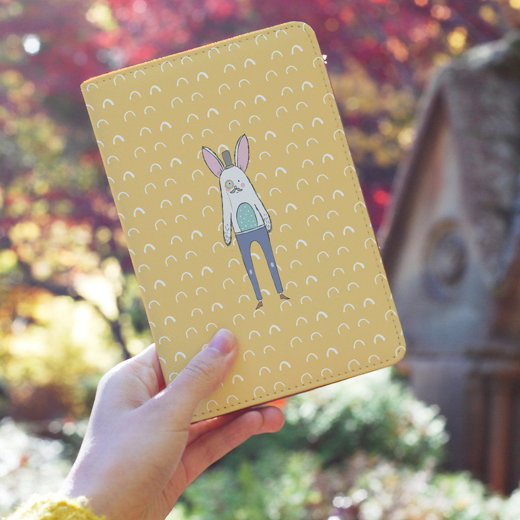 a girl holding personalized RFID blocking passport travel wallet with Adventure Collection design