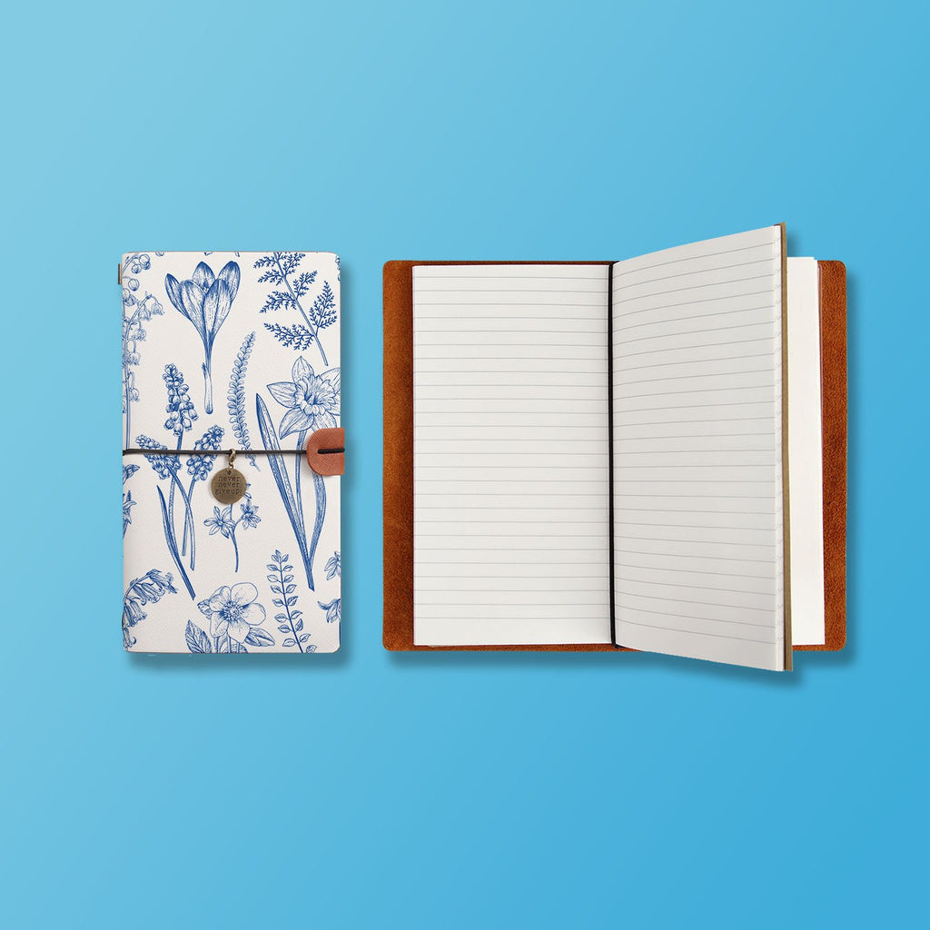the front top view of midori style traveler's notebook with Flower design