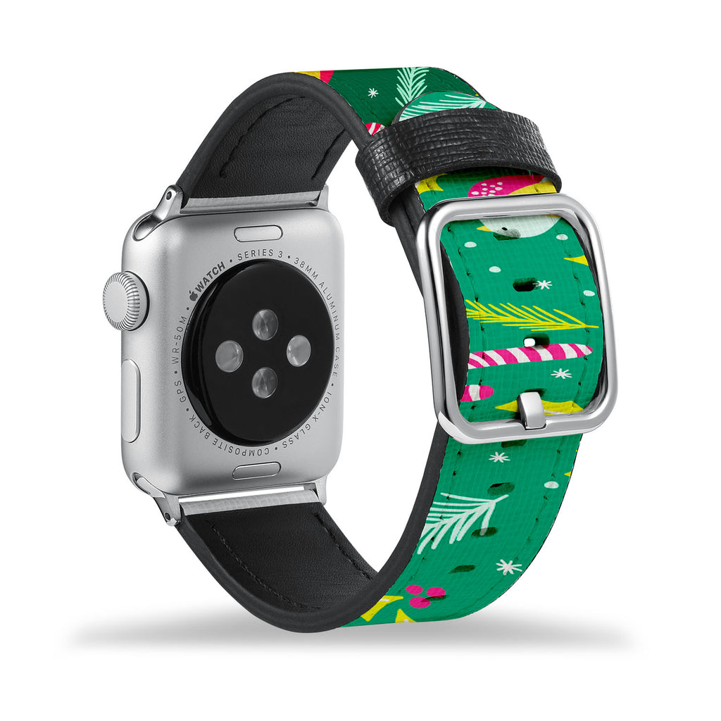 Printed Leather Apple Watch Band with Holiday design Like all Apple Watch bands, you can match this band with any Apple Watch case of the same size