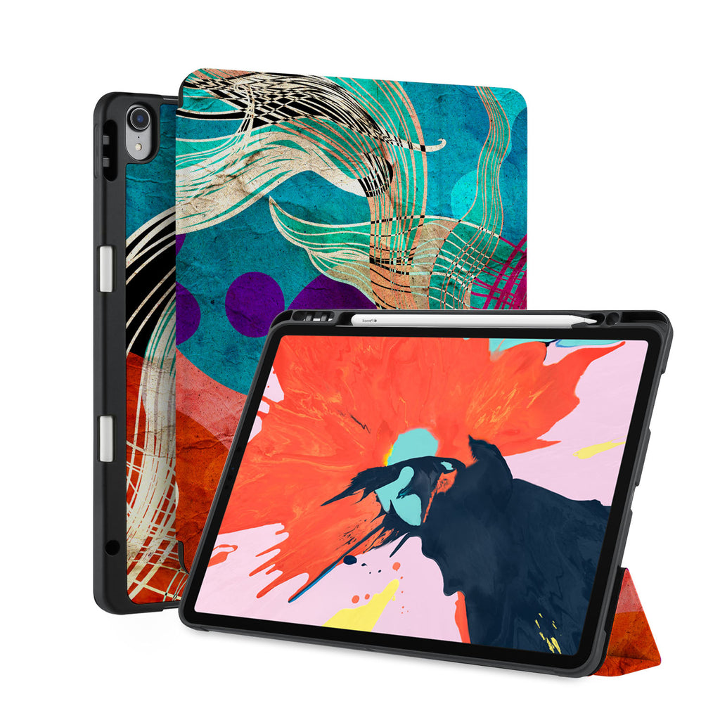 front back and stand view of personalized iPad case with pencil holder and Ukiyoe design