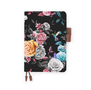 the front view of papermarker's diary with Black Flower pattern