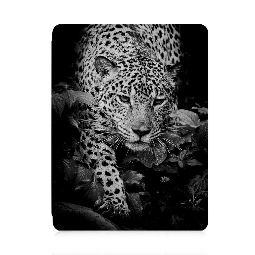 front view of personalized iPad case with pencil holder and Black And White design