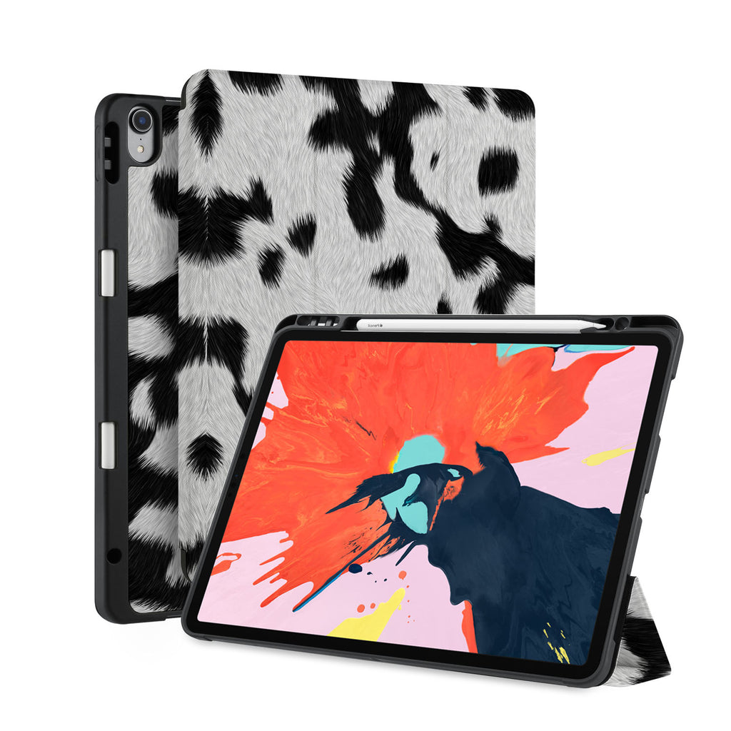 front back and stand view of personalized iPad case with pencil holder and Animal Skin design