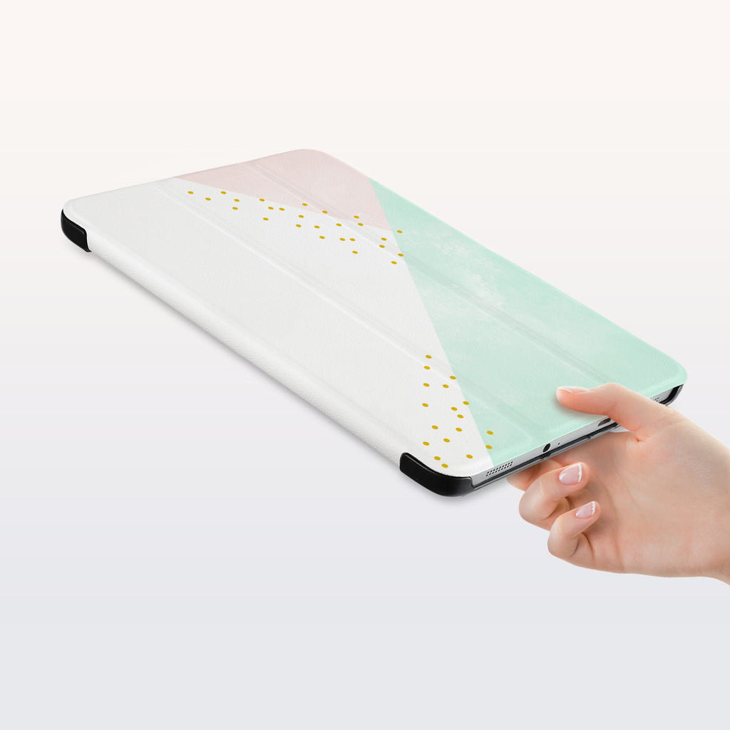 a hand is holding the Personalized Samsung Galaxy Tab Case with Simple Scandi Luxe design