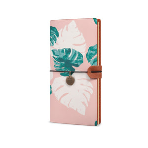 Traveler's Notebook - Pink Flower 2-the side view of midori style traveler's notebook - swap