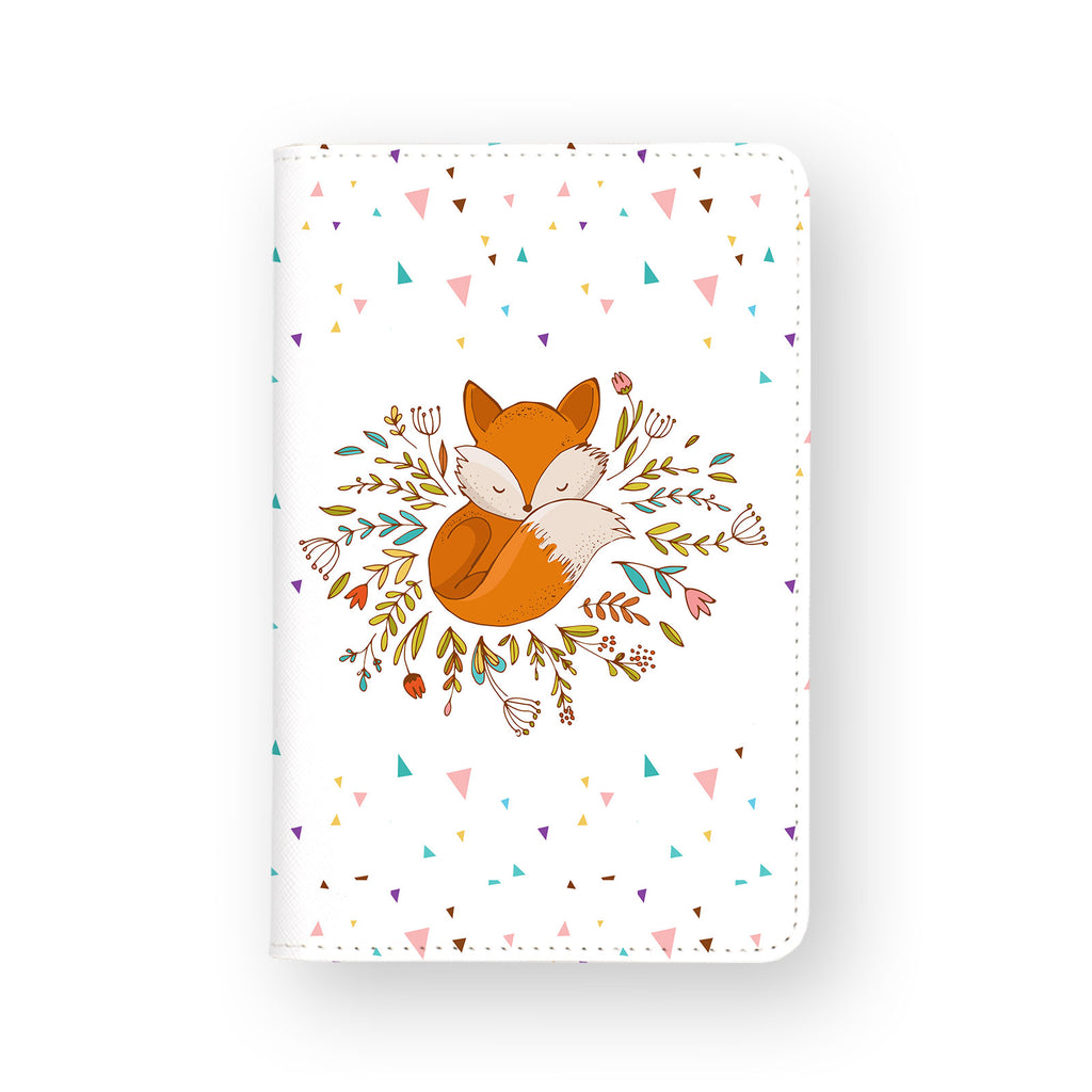 front view of personalized RFID blocking passport travel wallet with Fox Red design