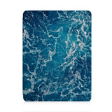 front and back view of personalized iPad case with pencil holder and Ocean design