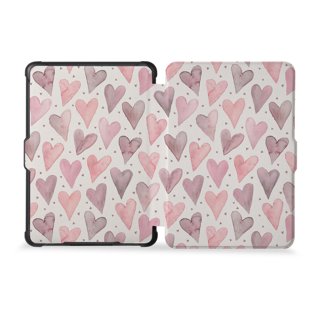 the whole front and back view of personalized kindle case paperwhite case with Love design