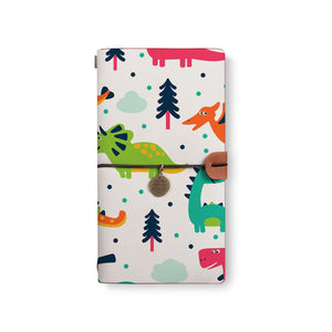 the front top view of midori style traveler's notebook with Dinosaur design