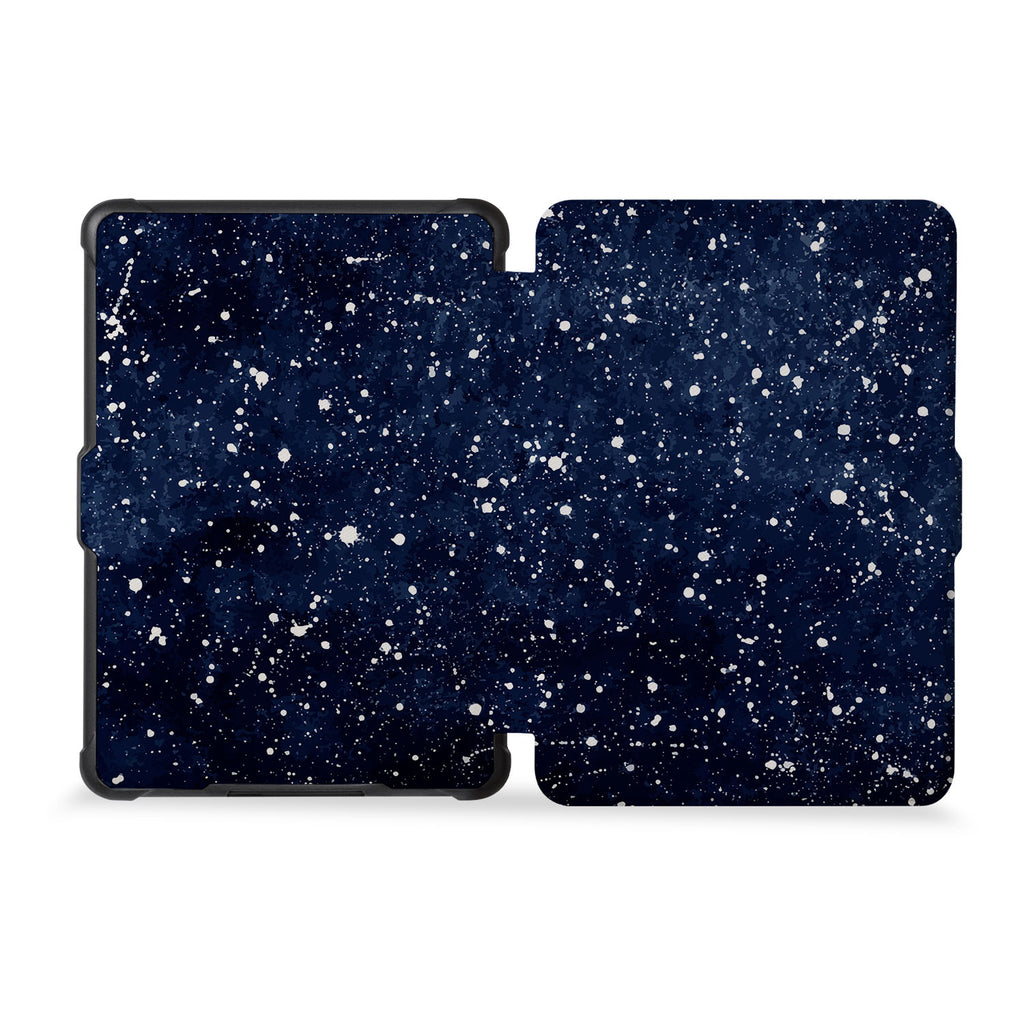 the whole front and back view of personalized kindle case paperwhite case with Galaxy Universe design
