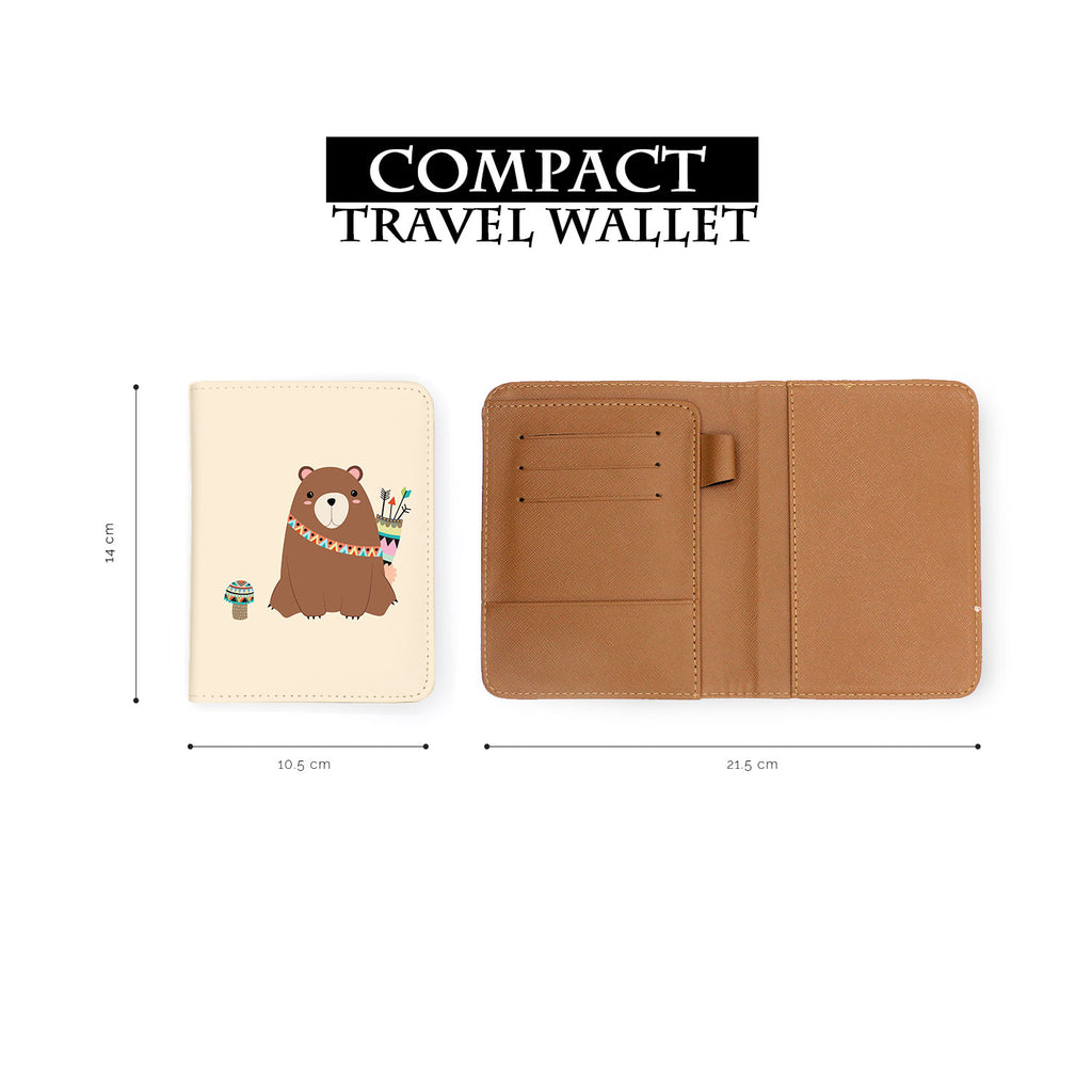 compact size of personalized RFID blocking passport travel wallet with Tribal Animals design