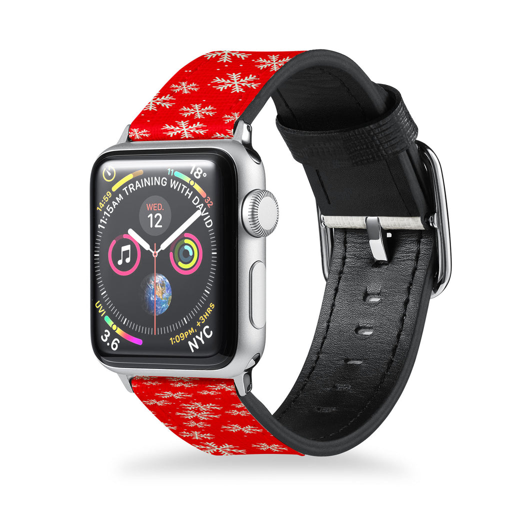 Handmade Printed Leather Apple Watch Band with Christmas 6 design from buttery-smooth leather - swap