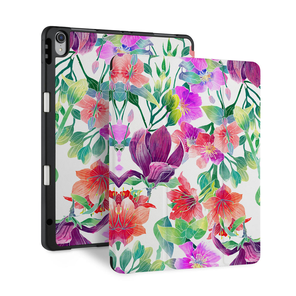 front and back view of personalized iPad case with pencil holder and Flower BG design