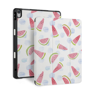 front back and stand view of personalized iPad case with pencil holder and Fruit Red design - swap