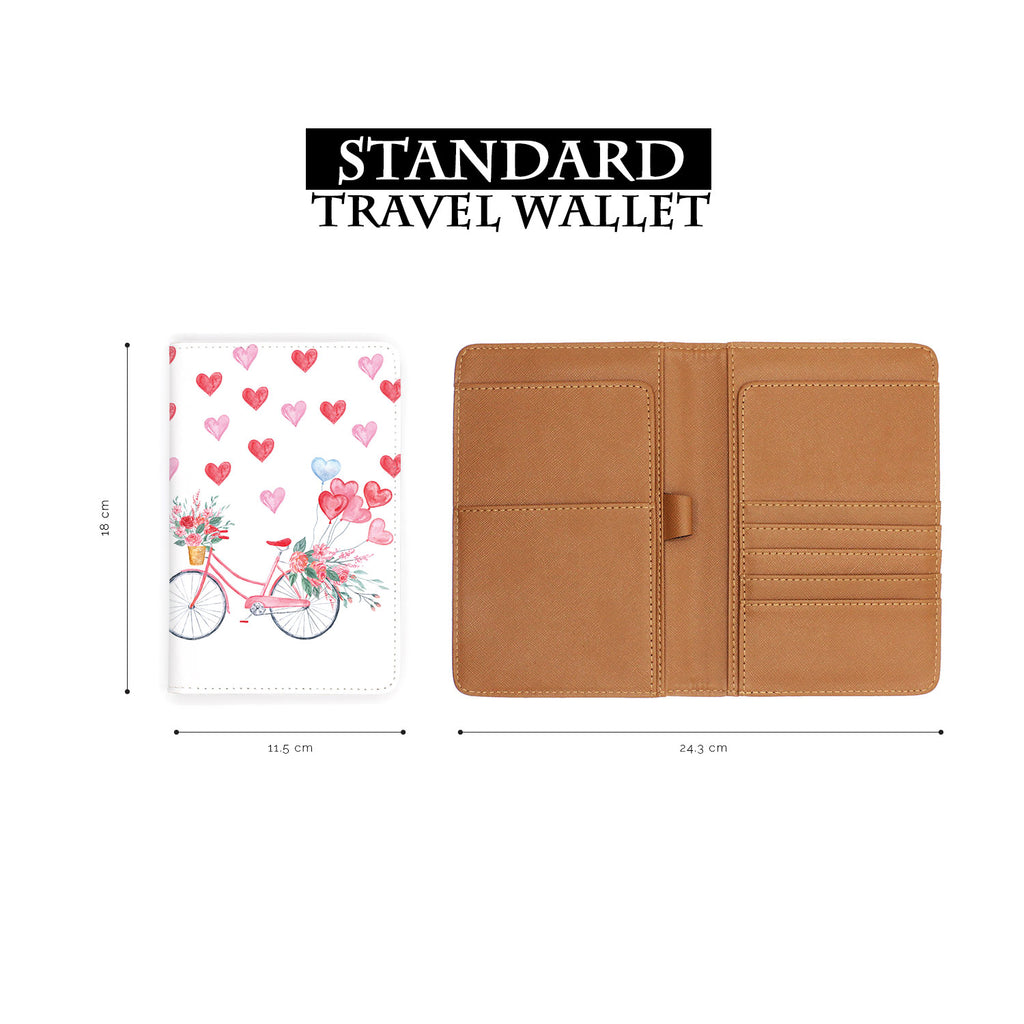 standard size of personalized RFID blocking passport travel wallet with Happy Valentine Day design