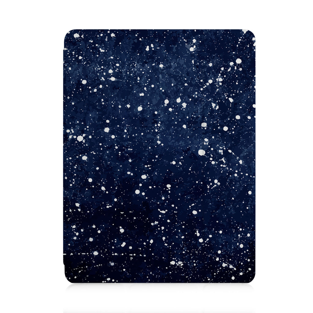 front view of personalized iPad case with pencil holder and Galaxy design