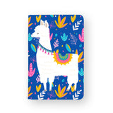 front view of personalized RFID blocking passport travel wallet with Llamas design