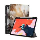 front back and stand view of personalized iPad case with pencil holder and London design