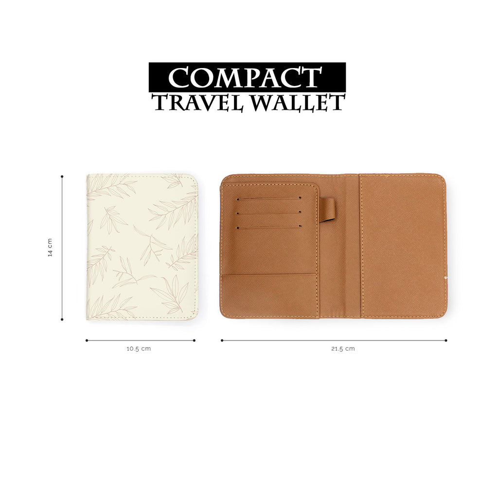 compact size of personalized RFID blocking passport travel wallet with Romantic Leaves design