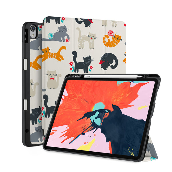 front back and stand view of personalized iPad case with pencil holder and Animals Lover design