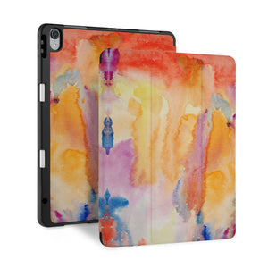 front back and stand view of personalized iPad case with pencil holder and Splash design - swap