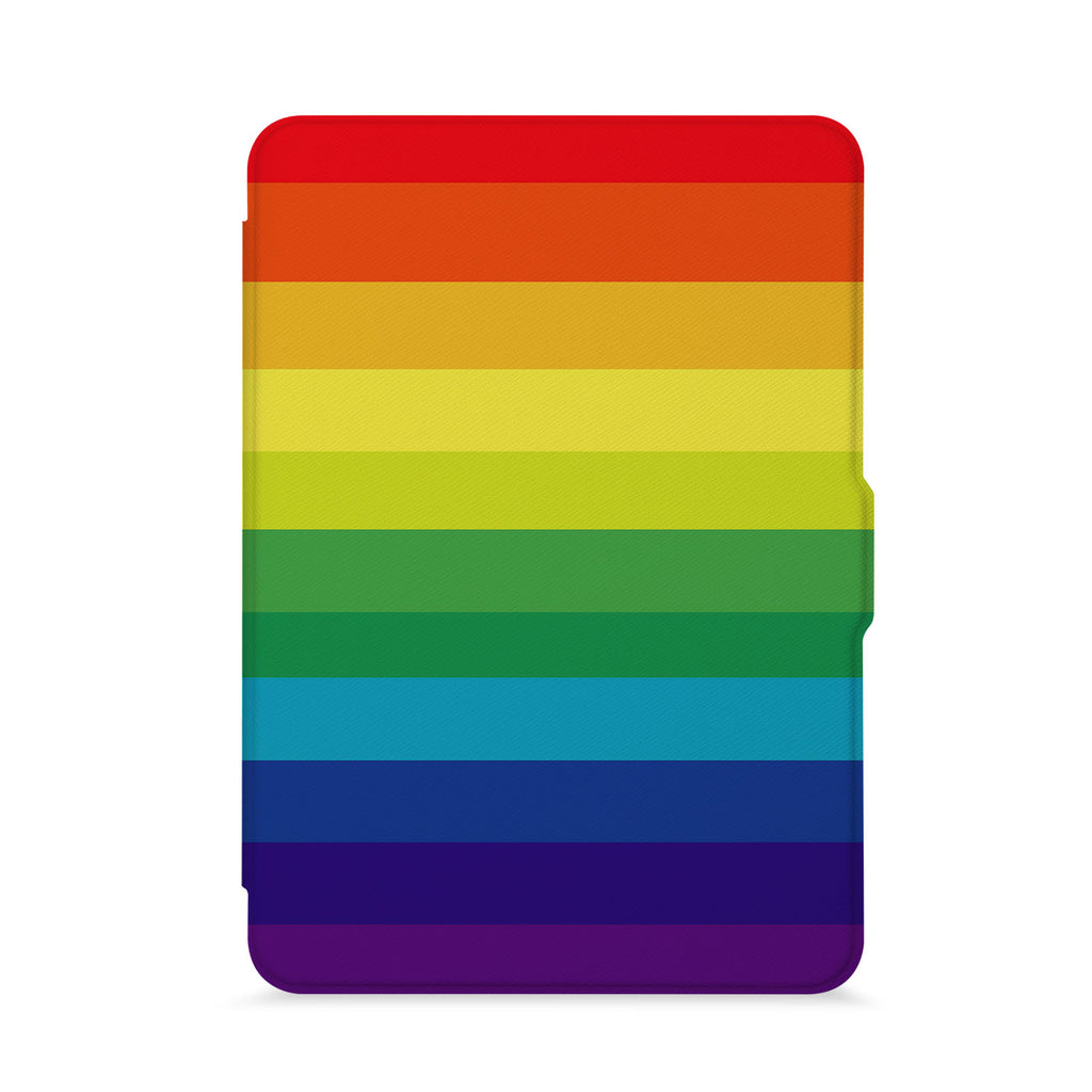 front view of personalized kindle paperwhite case with Rainbow design - swap