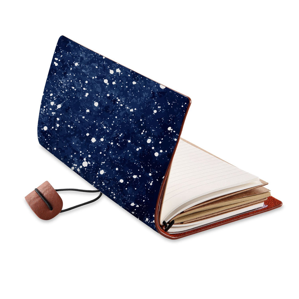 opened view of midori style traveler's notebook with Galaxy Universe design