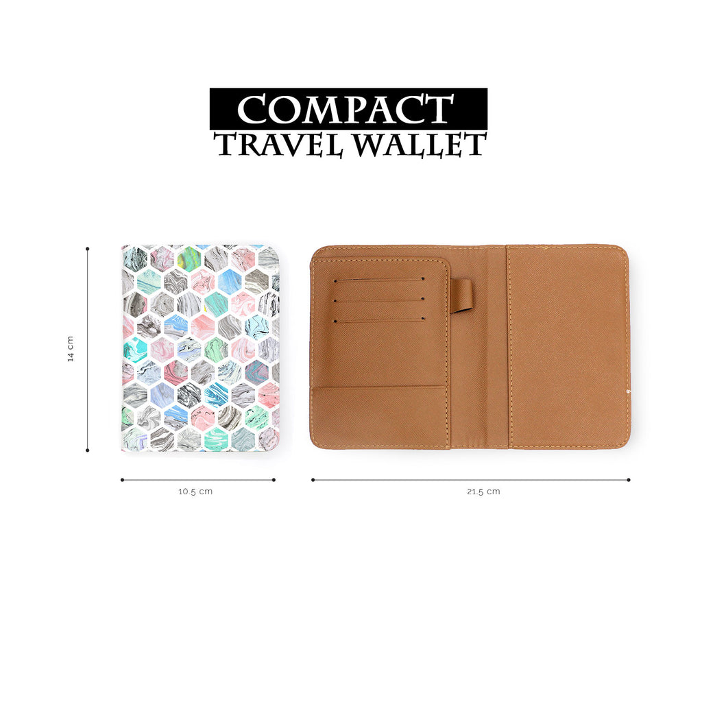 compact size of personalized RFID blocking passport travel wallet with Marble Tiles design