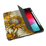 personalized iPad case with pencil holder and Sunflower design