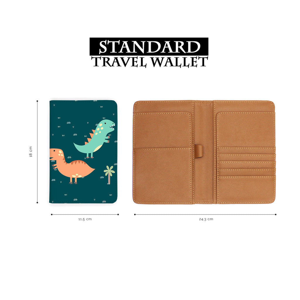 standard size of personalized RFID blocking passport travel wallet with Dino Party design