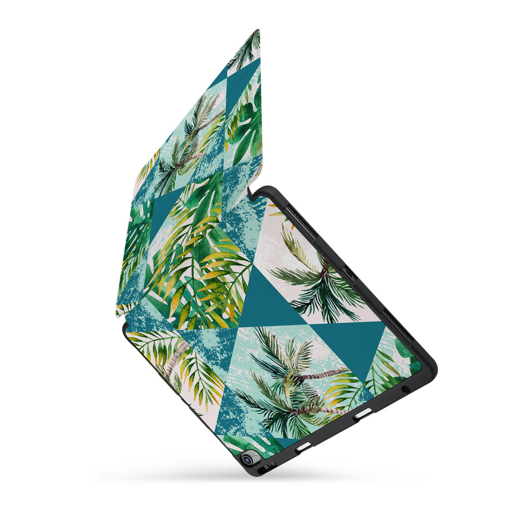 personalized iPad case with pencil holder and Tropical Leaves design